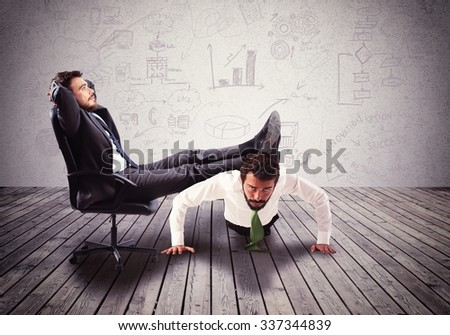 Supporting employee with fatigue the big boss - stock photo