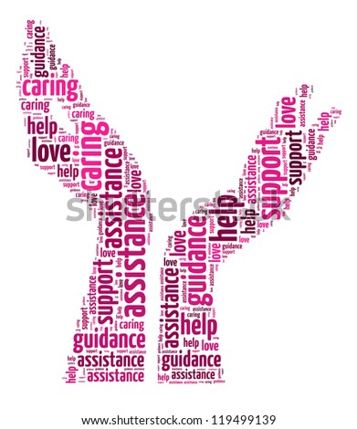 Supporting hands info-colorful text graphic and arrangement concept on white background (word cloud) - stock photo