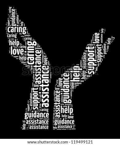 Supporting hands info-text graphic and arrangement concept on black background (word cloud) - stock photo