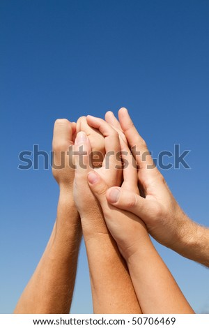 supportive hands - stock photo