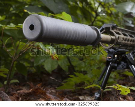 Suppressor that is mounted on a rifle that is in the bushes