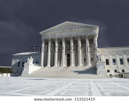 Supreme court building exterior with thunderstorm sky in Washington DC, USA. - stock photo