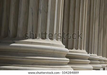 Supreme Court building in Washington DC - Columns detail - stock photo