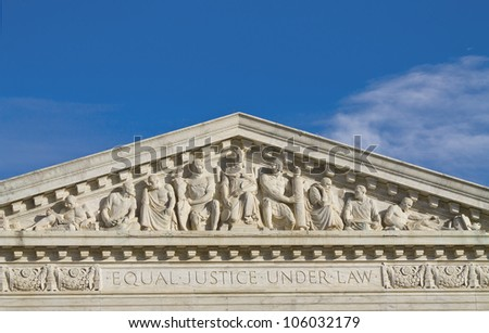 Supreme Court Building in Washington DC, United States, Building top shapes - stock photo
