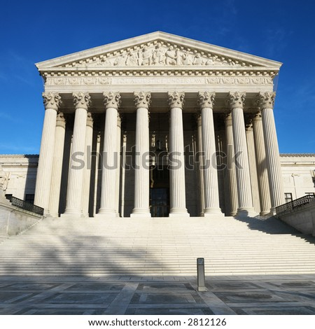 Supreme Court building in Washington, DC, USA. - stock photo