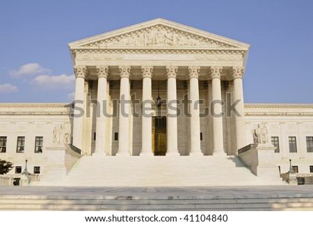 supreme court building shot head on during the day - stock photo
