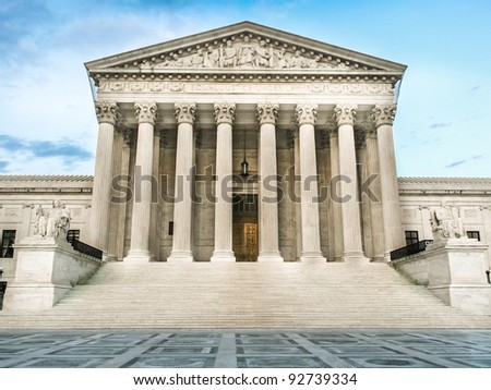 Supreme Court Building, West Entrance - stock photo