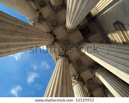 Supreme Court Columns in historic Washington DC. - stock photo