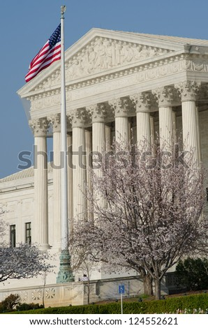 Supreme Court in Washington DC - Spring season - stock photo