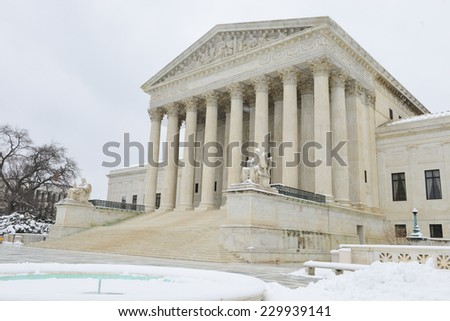 Supreme Court in Winter - Washington DC, United States - stock photo
