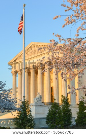 Supreme Court of United States Building in Spring time - Washington DC USA - stock photo