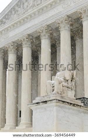 Supreme Court of United States in blizzard - Washington DC USA - stock photo