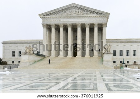 Supreme Court of United States in blizzard - Washington DC USA