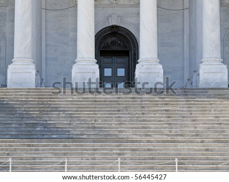 Supreme Court steps and front door in Washington DC. - stock photo