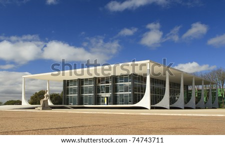 Supreme Federal Court building located in the city of Brasilia, Brazil, is the  highest court of law for constitutional issues in the country. - stock photo