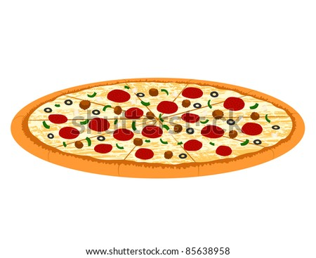 Supreme Pizza Illustration - High Resolution JPEG Version (vector version also available). - stock photo