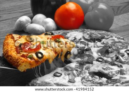Supreme Pizza in Black and White - stock photo