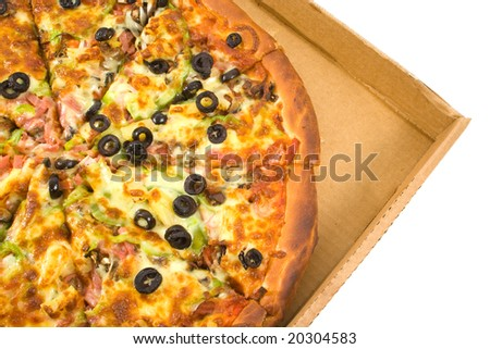 Supreme Pizza sliced in box. - stock photo