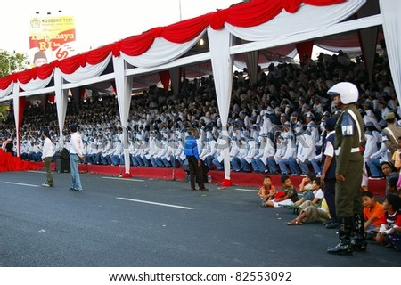 SURABAYA, INDONESIA - AUGUST 17: Unidentified children attend Independence day events in front of the Governor's house on August 17, 2007 in Surabaya, Indonesia. Independence day is the biggest event of the year