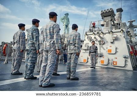 SURABAYA, INDONESIA - JAN 11: Ceremony of Anniversary Indonesian Eastern Navy a.k.a Koarmatim at Kodikal, Tanjung Perak. January 11, 2014 in Surabaya, Indonesia.  - stock photo