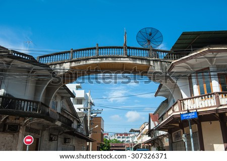 Suratthani,Thailand, August 15,2015: Dwellings with arched bridges connecting the houses reflect the lifestyle and ancient culture, province, surat thani,