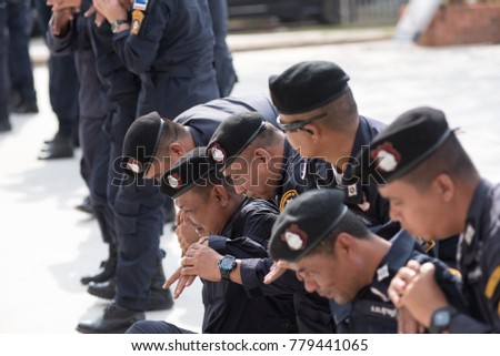 SURATTHANI THAILAND- Dec 20: Polices practice riot controlling using a shield      truncheon and tactical controls at police training academy.Dec 20,2017 in suratthani province,Thailand