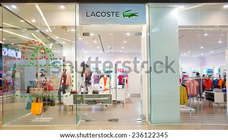 SURATTHANI, THAILAND - DECEMBER 7 : Exterior view of Lacoste Shop on December 7, 2014 in Suratthani, Thailand. Lacoste is a French clothing company founded in 1933.