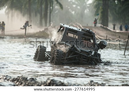 SURATTHANI THAILAND- Jan 25: The off-road racing rally on the hill..All of this rally for charity and free fee for everyone. Jan 25,2015 in Surat thani province,Thailand