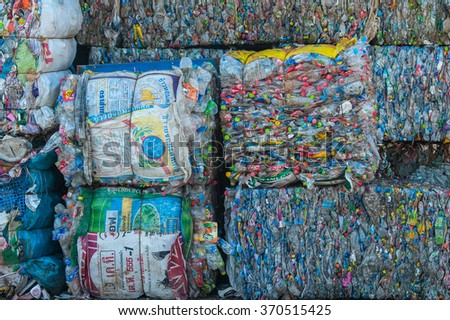 Suratthani,Thailand, January 30,2016: Plastic bottles of various drinks. The waste separation and recycling to get old.  - stock photo