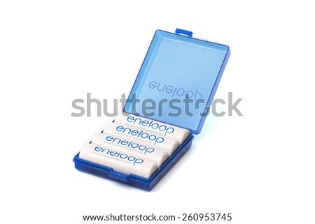 SURATTHANI THAILAND - March 15,2015: Photo of eneloop battery.eneloop battery Manufactured by SANYO Electric Co,Ltd. JAPAN  - stock photo