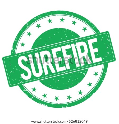 SUREFIRE stamp sign text word logo green.