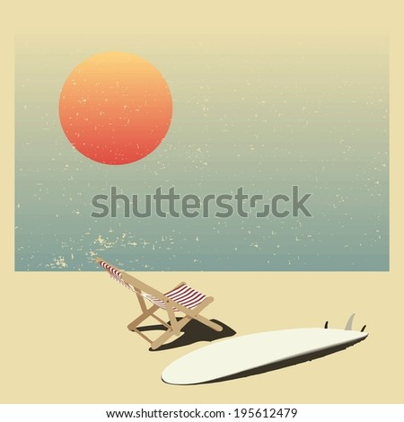 Surf and sun lounger on the beach, background in vintage style .  - stock photo
