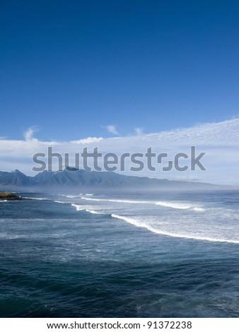 Surf at Hale Mahina, west Maui coast, Hawaii - stock photo