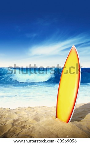 Surf board in the sand