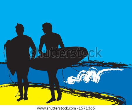 Surf Days End.  Two surfer silhouettes getting out of the water after a nice day of surfing.  Clipping Path Included. - stock photo