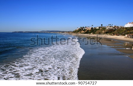 Surf on the beach, San Clemente, CA - stock photo