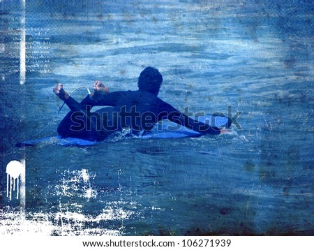 surf poster with rider searching the wave - stock photo