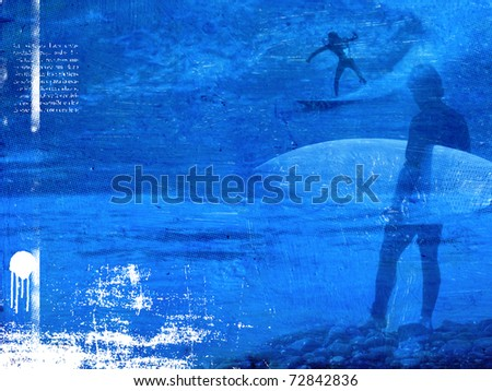 surf poster with surfer in wave - stock photo