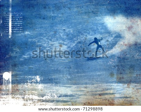 surf poster with surfer in wave with old paper texture - stock photo