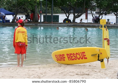 Surf Rescue at Brisbane South Bank, Australia - stock photo