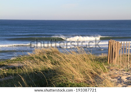 Surf spot with empty lineup, Agucadoura, Portugal  - stock photo