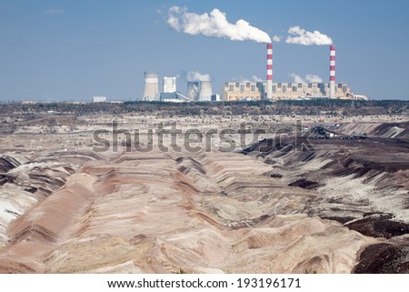 Surface coal mining and power station in Belchatow, Poland - stock photo