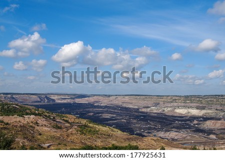 Surface coal mining-excavation, Belchatow, Poland - stock photo