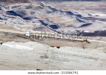 Surface coal mining in Belchatow, Poland - view at terraces - stock photo