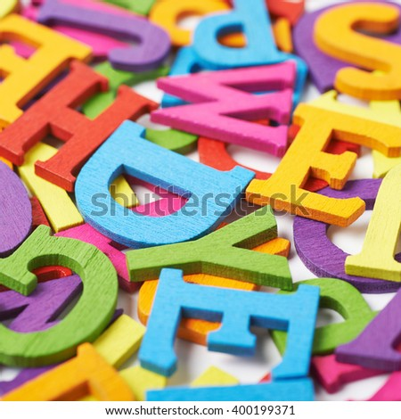 Surface covered with colorful letters