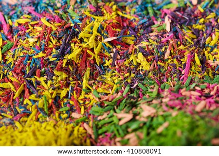 Surface covered with colorful pencil's graphite chips - stock photo