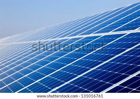 Surface electric solar panel cell, renewable energy - stock photo