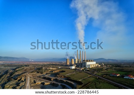 Surface lignite pit and power station AIS Kardias in Kozani, Greece.  - stock photo