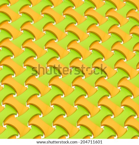 Surface made of multiple green and orange tiles as an abstract background composition - stock photo