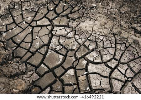 Surface of a grungy dry cracking parched earth for  background. - stock photo